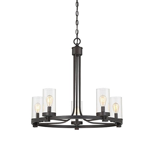 Loft 5 Light Chandelier - Trade Winds Lighting TW10048ORB 5-Light Transitional Rustic Bronze Hanging Chandelier with Clear Glass Cylindrical Shades, 60 Watts, in Oil Rubbed Bronze