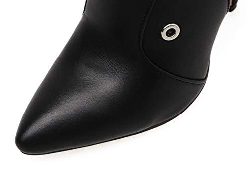 Cercle Talons Femmes Pointu De Hiver Bottes À Bout Décoration Pour Shiney Mode Automne Black Aiguilles Hauts WPqXFYHcWa