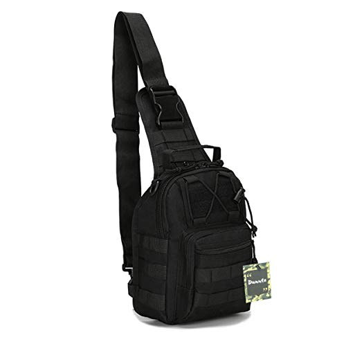 (Dunnta Tactical Sling Bag, Military Sport Bag EDC Molle Pack Daypack for Camping, Hiking, Trekking, Rover Sling (Black))