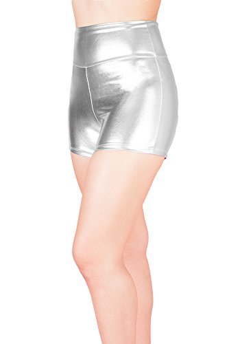 Sidecca Metallic Stretchy Liquid Wet Look High Waist Hot Pants Short-Silver-Large ()