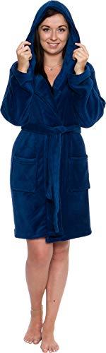 Silver Lilly Lightweight Hooded Short Robe for Women - Plush Fleece Luxury Kimono Bathrobe (Navy, S) (Hooded Robe Short)