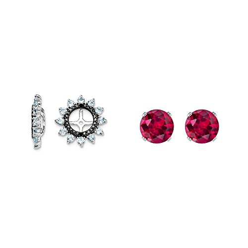 Sterling Silver Simulated Aquamarine, Black Simulated Sapphire Earring Jacket + 2mm Red CZ Studs by Mireval