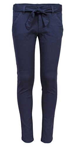 'Beverly Hills Polo Club Girls School Uniform Skinny Flat Front Stretch Twill Pants, Navy, Size -