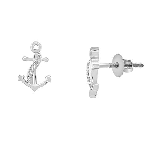 1/20 Ct Round Cut Natural Diamond 10K Solid Gold Anchor Earrings With Screw Back (white-gold)