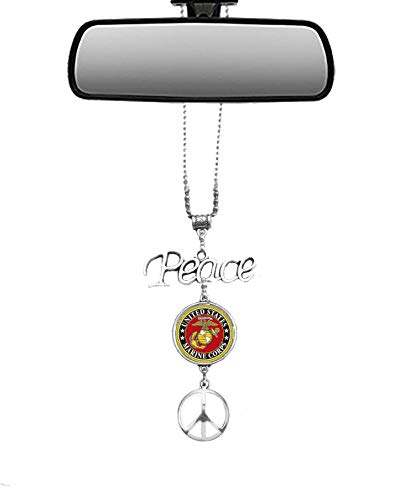 Silver Bling Military Marine Corps Insignia Symbol and Peace Sign Charms Mirror Car Charm Hanger Ornament with Adjustable Chain (Marine Corps)