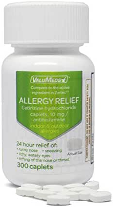 ValuMeds 24-Hour Allergy Medicine (300-Count) Antihistamine for Pollen, Hay Fever, Dry, Itchy Eyes, Allergies   Cetirizine HCl 10mg Caplets
