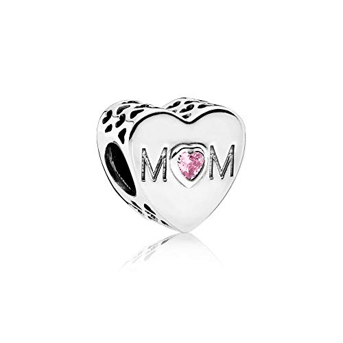 PANDORA Mother Heart Charm, Sterling Silver Mom Charm with Pink Cubic Zirconia
