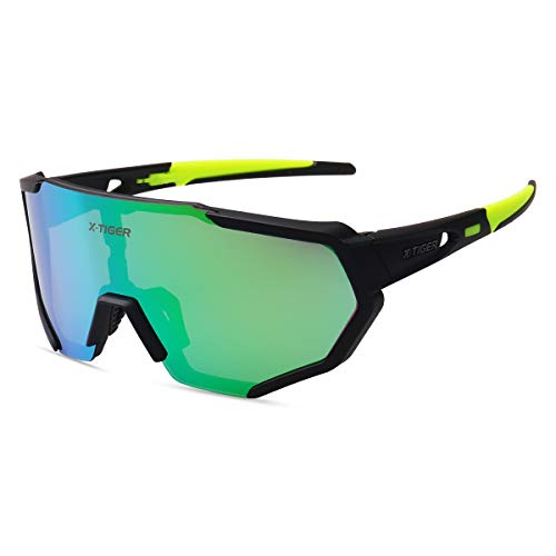 X-TIGER Polarized Sports Sunglasses with 3 Interchangeable Lenses,Mens Womens Cycling Glasses,Baseball Running Fishing Golf Driving ()