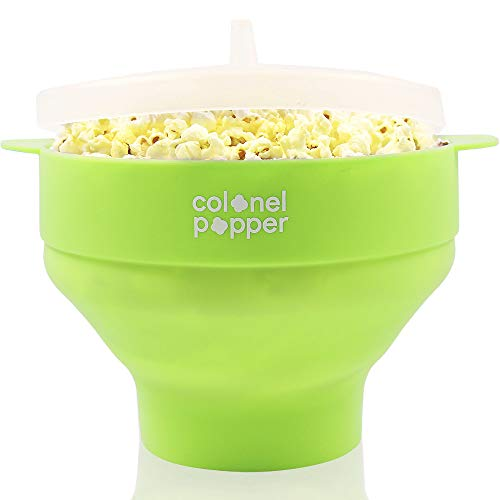 Colonel Popper Microwave Popcorn Popper Maker - Silicone Hot Air Popcorn Bowl (Green)