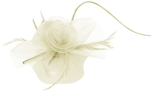Cloudkids Women Feather Lace Flower Fascinator Hair Clip Headband Derby Hat Off White
