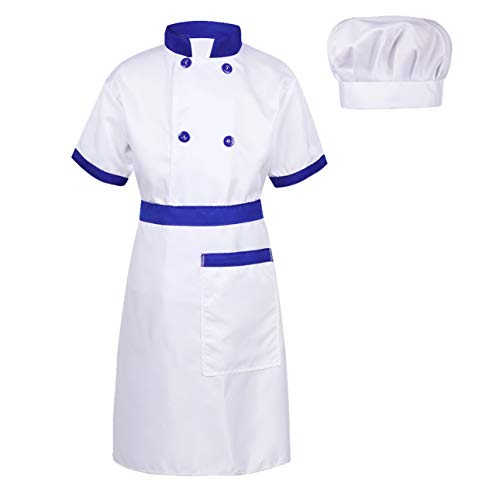 dPois Unisex Boys Girls' 3 Pieces Chef Outfits Short Sleeves Jacket with Apron and Hat Halloween Cosplay Fancy Dress Up Blue&White 10-12