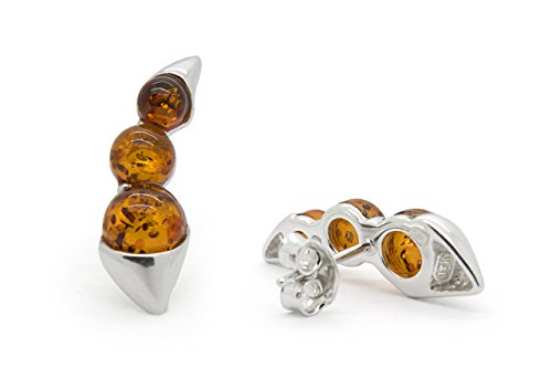 Cognac Baltic Amber Earrings (925 Sterling Silver Climber / Crawler Stud Amber Earrings with Cognac Genuine Natural Baltic Amber.)
