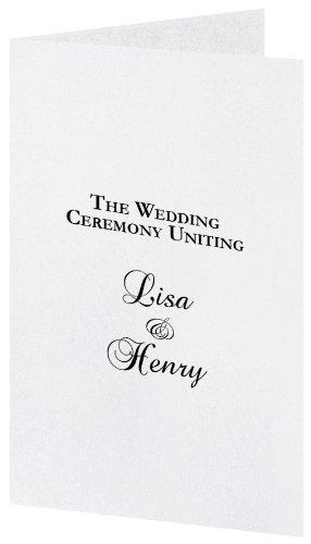 (Crystal White Metallic Wedding Program Kit, White Parchment Insert, 50 Pack)