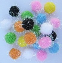 10pc Assorted Color Pom Pom Balls My Cat's All Time Favorite Toy, My Pet Supplies