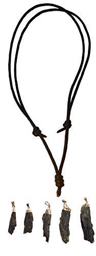 (Beadscape ~ A Bit of Deja Vu Genuine Black Kyanite Fan Pendant with Silver Dipped Top Necklace (Black Cord Adjustable Length Sliding Knot (16-30
