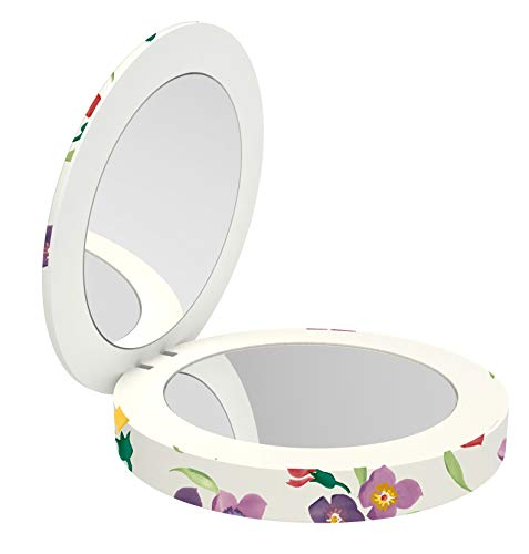 VQ Coco Compact Mirror and Powerbank Portable Charger - 3400 mAh w/Daylight LED Vanity, Integrated Fast Charging Lightning Cable - Emma Bridgewater WallFlower