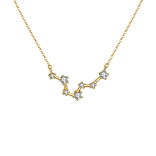 OSIANA Constellation Necklace 14K Gold Plated Pendant Dainty Horoscope Sign Zodiac Model Choker Personalized Birthday Gift for Women