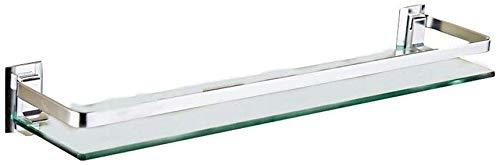 European-Style Glass Floating Bathroom Wall Mount Polished Chrome Bathroom Mirror-Front Storage Rack -