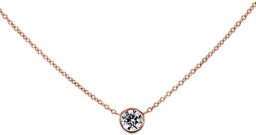 Kobelli Lab Grown Diamond Solitaire 1/4 Carat Bezel Gold Necklace