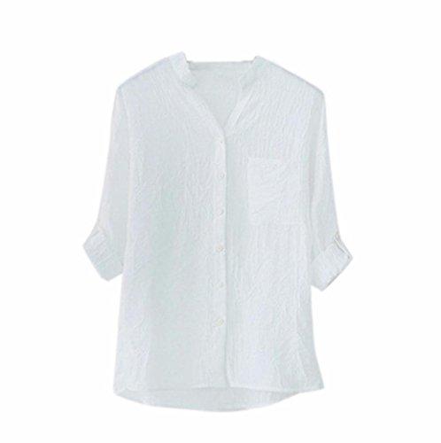 Printemps Chemisier Dcontracte Manches CIELLTE en Sleeve Branch Automne Blouse Blanc T Shirts V Chic Longues Chemise Femme Encolure Simple rXaq0r