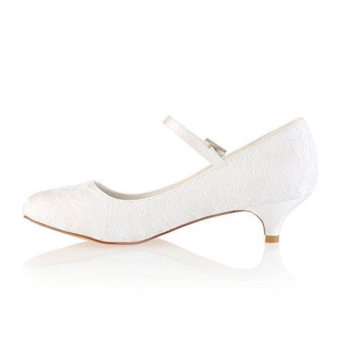 Madre de Emily Zapatos Punta Bridal con Zapatos Mary Novia de de Tac Zapatos Zapatos Jane de de Nupciales Redonda Encaje Novia UCFw7qxUS