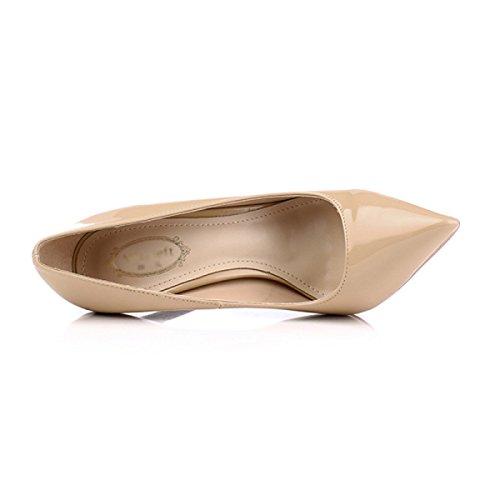 Pompes Chaussures Chaussures 12CM 8 Astuce De Printemps Talon Nude Nude Stiletto Femmes OL Mariage Talons Hauts 5cm Court Ladies 6qEnwZP