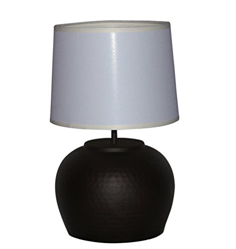 A Ray Of Light AG0369 Pair of Hammered Bronze Bean Pot Table Lamps with Off White Fabric Drum Shades, 6