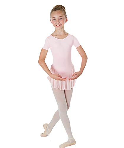 Body Wrappers Short Sleeve Chiffon Skirted Leotard (BWP191) -Light Pink -3-4 Body Wrappers Short Sleeve