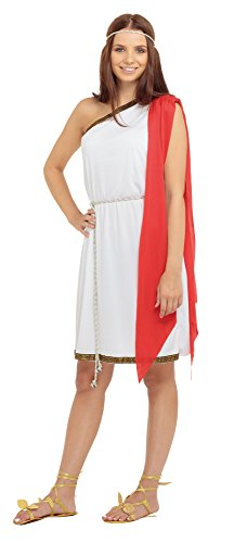 Bristol Novelty White/Red Toga. Ladies Adult Costume - Women's - One Size ()