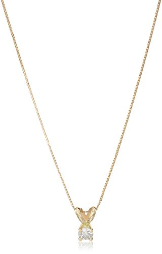 Amazon Collection14k Yellow Gold Diamond Solitaire Pendant Necklace, 18'