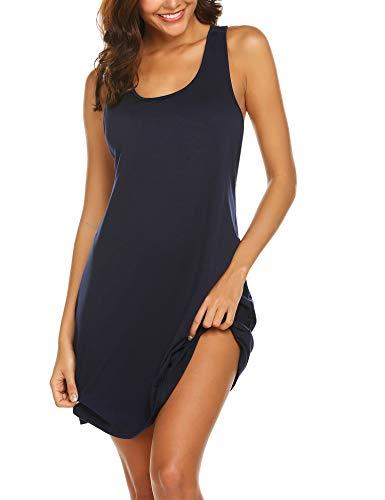 Avidlove Sexy Sleepwear for Women Tank Nightgown Chemise Racerback Sleeveless Sleep Dress Navy Blue