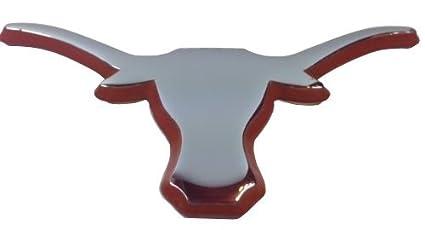 The University of Texas Longhorns METAL Auto Emblem - Many Different Colors Available! (Chrome (Black trim)) AMG Auto Emblems