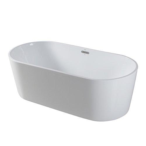 FerdY 67'' Acrylic Stand Alone Bathtub , White Modern Freestanding Bathtub Soaking Bathtub, Easy To Install, Drain and Overflow Assembly Included (Bathtub Clawfoot Acrylic)