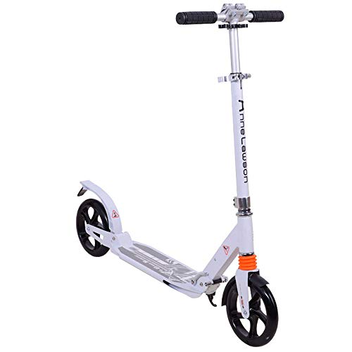 (LJJYN Folding Kick Pedal Lightweight Alloy Deck and Integrated Welded T-bar Handle 220 mm Wheel Scooter,White,942289cm)