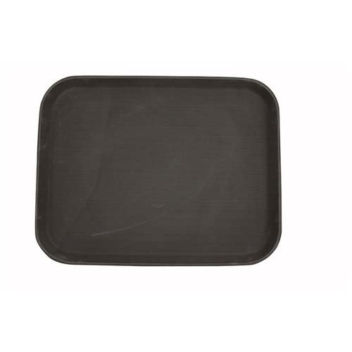 Winco TRH-1418, 14x18-Inch Easy Hold Rectangular Rubber Lined Plastic Tray, Brown Bar Restaurant Serving Tray