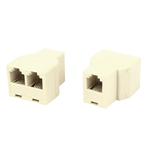 uxcell 2 Pcs RJ11 6P4C 1 to 2 Female Socket Connector Telephone Modular Splitter Adapter