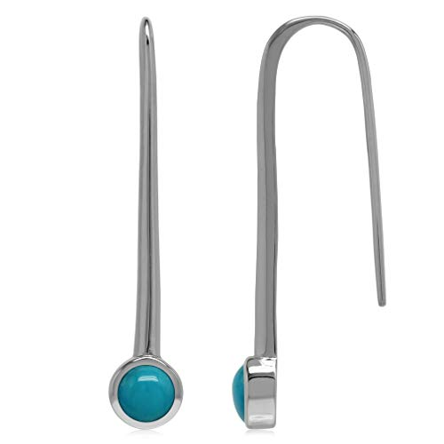 - 5MM Genuine Round Shape Arizona Turquoise 925 Sterling Silver Long Pin Style Vertical Stick Earrings