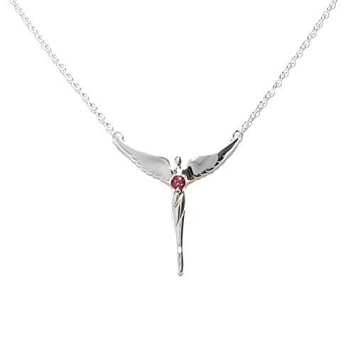 Lavaggi Ruby Gemstone Angel Necklace.925 Sterling Silver
