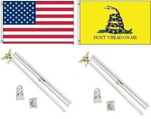 NEW 3x5 GADSDEN DON'T TREAD ON ME & Embroidered AMERICAN Fla