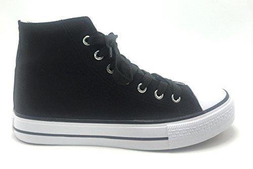 Donna Alta Cima Classica Tela Moda Piatta Allacciata Casual Estate Speciale Sneakers Nero