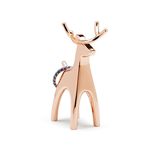 Umbra Anigram Animal Ring Holder for Jewelry (3-Pack containing Bunny, Reindeer and Elephant), Copper, 3 PACK
