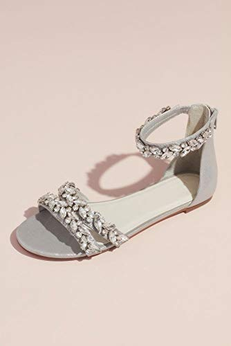 David's Bridal Jeweled Metallic Ankle Strap Flat Sandals Style Alessia, Silver Metallic, 6 -