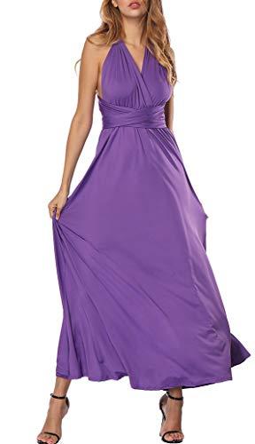 (PARTY LADY Women's Infinity Gown Dress Multi-Way Strap Wrap Convertible Maxi Dress Size L Violet)