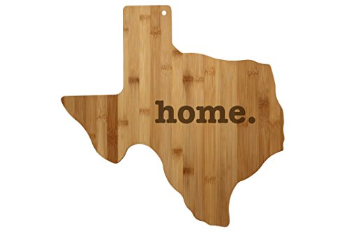 Texas Cutting Board State Shaped Wood Bamboo Engraved home. For New Family Home Housewarming Wedding Moving Father's Day Gift ()