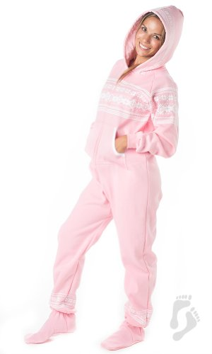 Footed Pajamas - Nordic Pink Adult Hoodie One Piece - XSmall