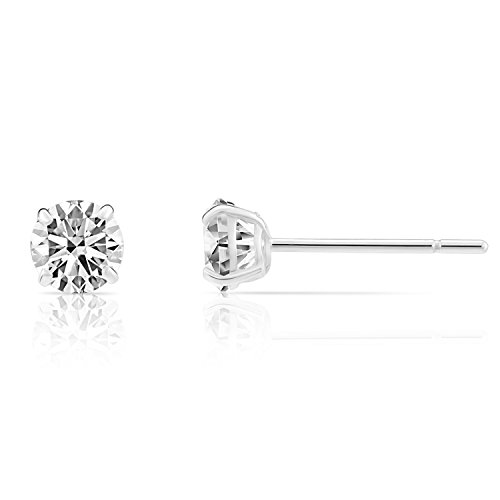 14k White Gold Solitaire Round Cubic Zirconia Stud Earrings with Gold butterfly Pushbacks (2.5mm)
