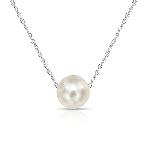14K White Gold Chain with 7-7.5mm White Freshwater Cultured Pearl Floating Pendant Necklace, 18