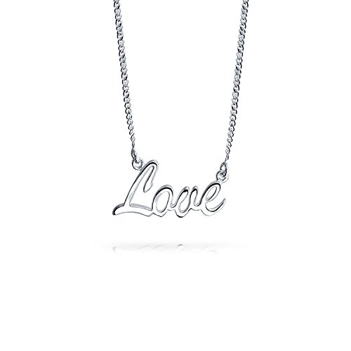 Love Script Letters Name Plate Style Pendant For Women Necklace For Girlfriend 925 Sterling Silver 16 Inches