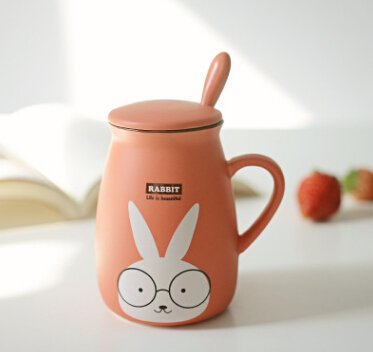Vintage Milk Cocktail with a spoon with a ceramic cup cute belly mug cup of coffee cup creative couple water cup 301-400ml (Rabbit)