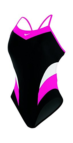 Nike Women's Victory Color Block Cut Out Tank Swimsuit 28 Pink Flash